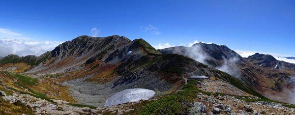 剣御前尾根にて別山から立山三山方面のパノラマ