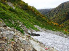 高巻き道には上がらず雪渓脇を下る。
