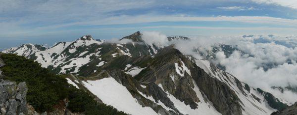 白馬鑓ヶ岳山頂にて北方のパノラマ