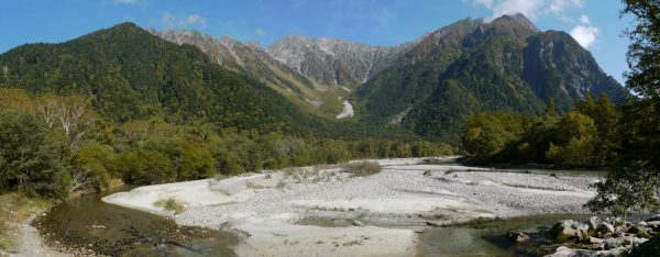 上高地での奥穂高岳方面のパノラマ(2012/10/9)