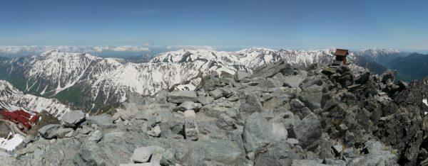 笠ヶ岳から後立山連峰までのパノラマ