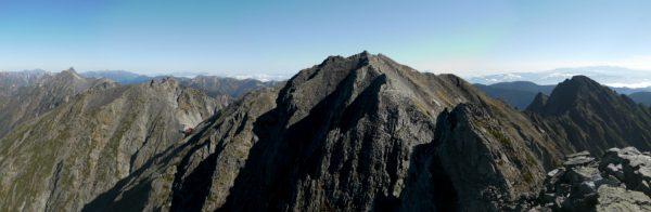 ジャンダルムにて奥穂高方面、槍ヶ岳から前穂高岳へのパノラマ(2012/10/08)