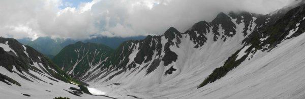 ザイテングラート取付き付近で見る前穂高岳北尾根