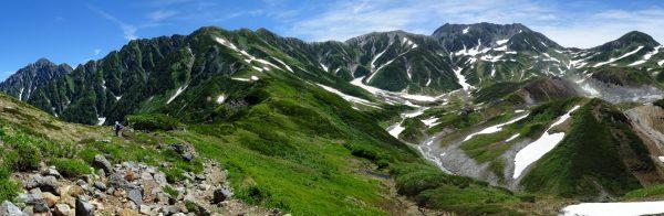 室堂乗越付近で見る剱岳から立山三山、浄土山にかけてのパノラマ。この登山道稜線の先の別山乗越に剱御前小舎が見える。