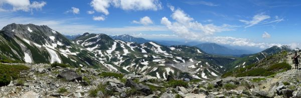 剱御前小舎裏山にて立山三山から大日岳にかけてのパノラマ。室堂には7月下旬でも斑模様に雪が残る。