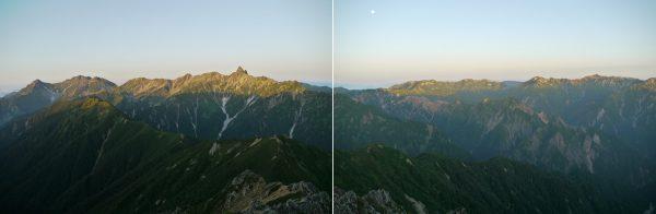 周辺減光の影響説明1:写真撮影が早朝だったことで元の写真の一枚一枚に四隅が暗くなる周辺減光が目立っています。